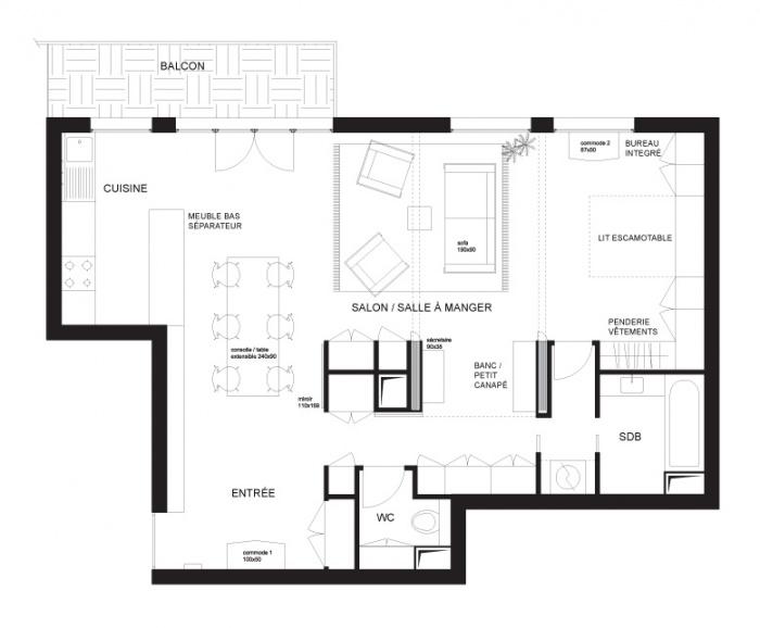 Rénovation d'un appartement Avenue St.Ouen : Plan ouvert