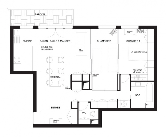 Rénovation d'un appartement Avenue St.Ouen : Plan fermé