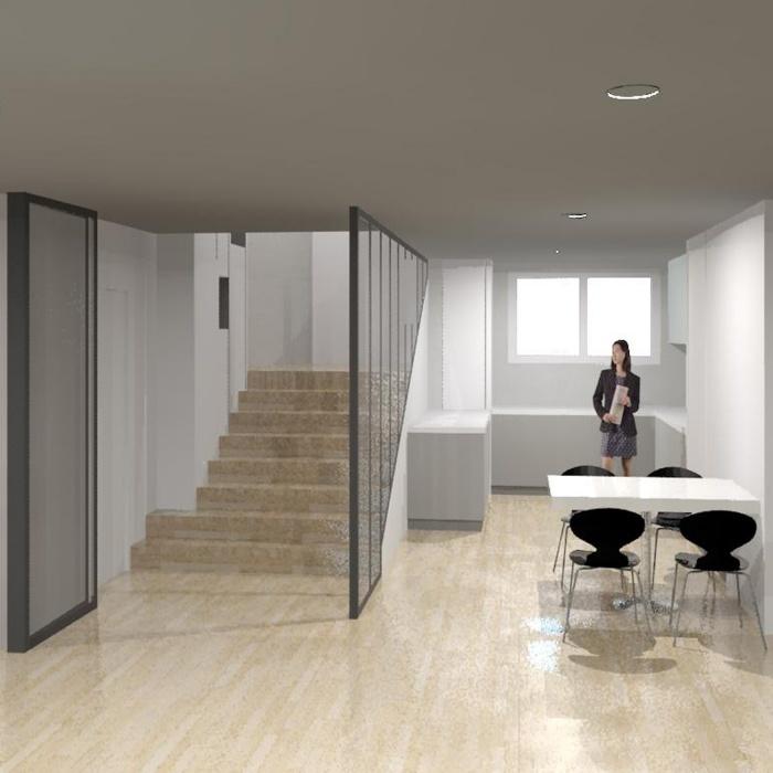 Appartement: meuble escalier et verrière d'intérieur