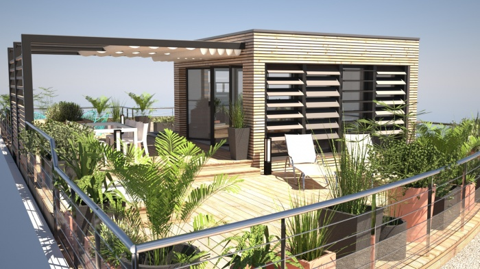 Am nagement d 39 une toiture terrasse avec sur l vation for Terrasse appartement amenagement