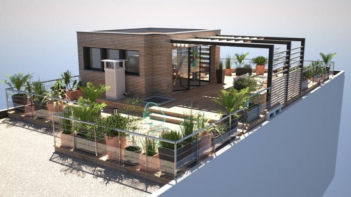 Amnagement DUne Toiture Terrasse Avec Surlvation  Ossature Bois
