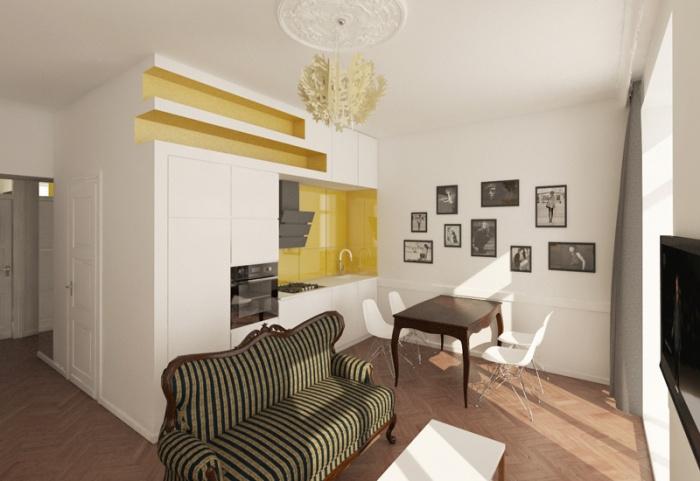 Appartement à Varsovie : Séjour 3D