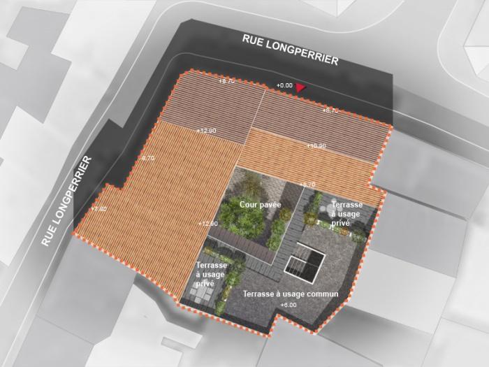 Réhabilitation, extension et surélévation d'un immeuble insalubre - Meaux : 03.Plan masse