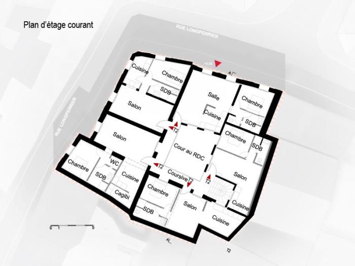 Réhabilitation, extension et surélévation d'un immeuble insalubre - Meaux : 04.Plan
