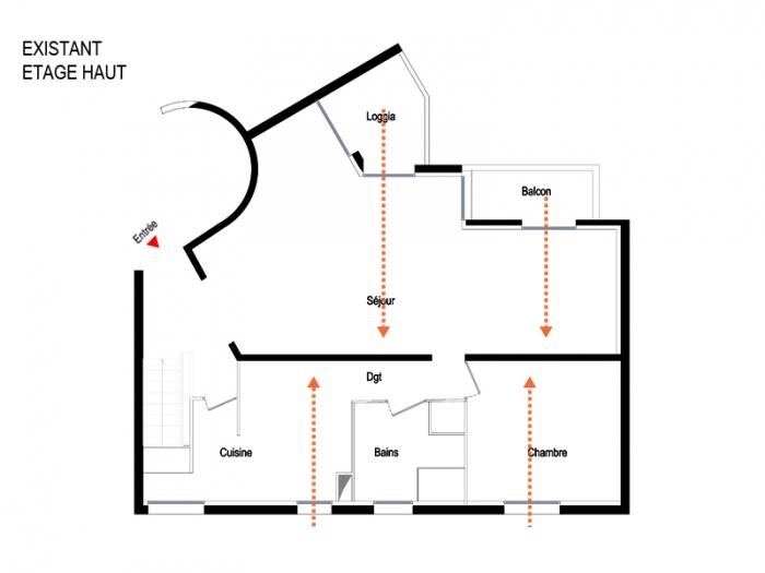 Transformation d'un duplex en plateau ouvert - Charenton : 04.Plan Existant Etage Haut