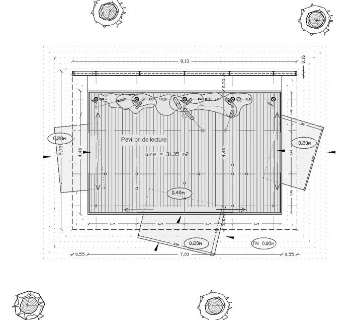 pavillon de lecture privée : plan