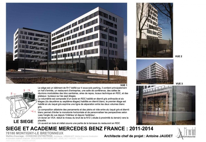 architectes restaurant d 39 entreprise du siege social de mercedes benz france. Black Bedroom Furniture Sets. Home Design Ideas