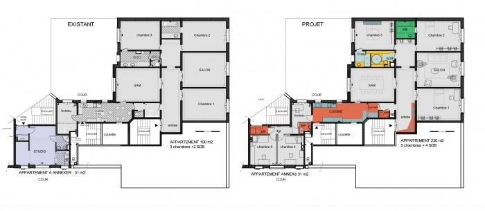 plan appartement haussmannien