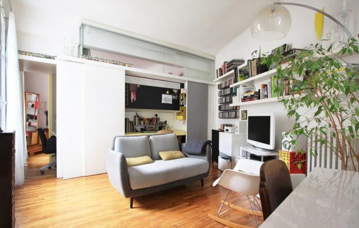 Réaménagement d'un appartement de 50m²-création d'un bureau et d'espaces de rangement