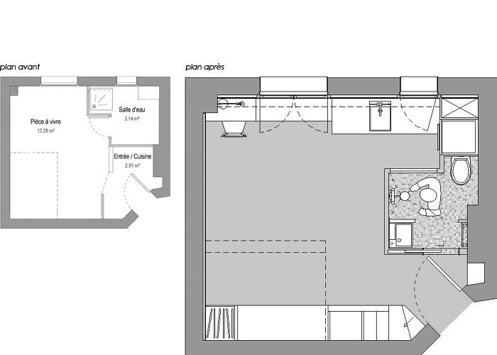 studio 18m²_Paris 18ème : WEB_BUD_72dpi_plan avant apres