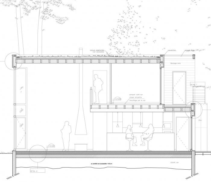 Architectes maison au dojo construction ossature bois 78 carri res sur seine - Coupe toiture vegetalisee ...