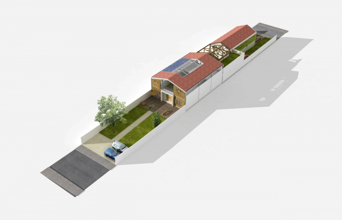Réhabilitation de hangars en habitation : axo