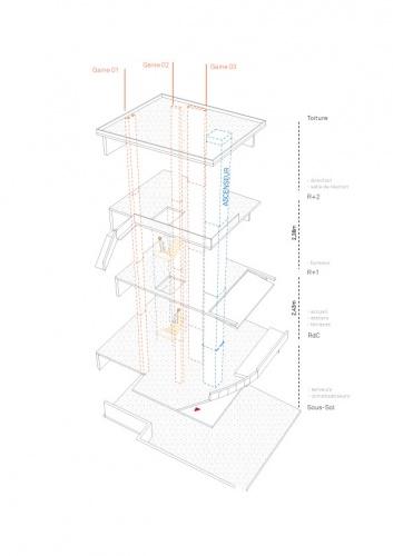 Projet de surélévation - Penthouse : 2_AXONOMETRIE ECLATEE