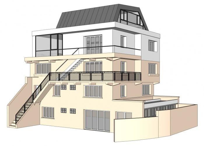 Projet de surélévation - Penthouse : 1_VUE NORD OUEST