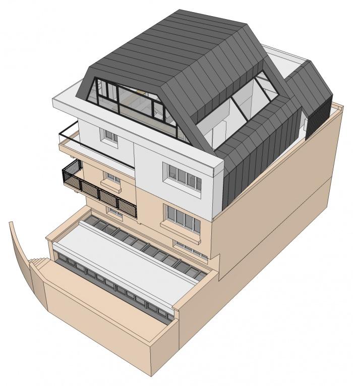 Projet de surélévation - Penthouse : 3_VUE SUD OUEST