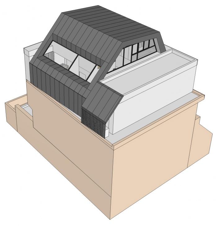 Projet de surélévation - Penthouse : 4_VUE SUD EST
