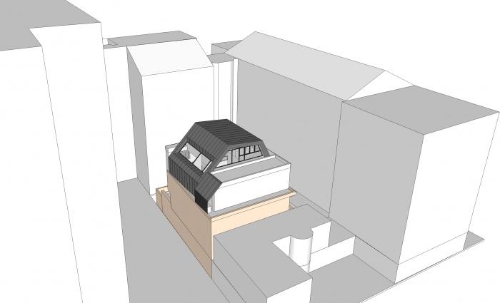 Projet de surélévation - Penthouse : 5_VUE VOL DOISEAU