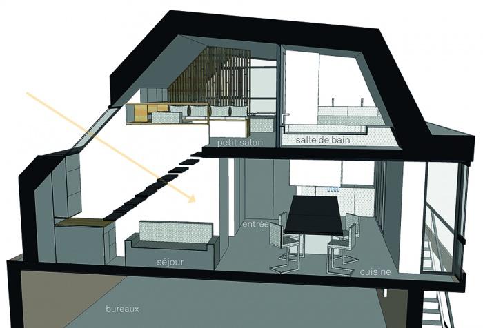 Projet de surélévation - Penthouse : 2_COUPE TRANSVERSALE ESCALIER - Copie