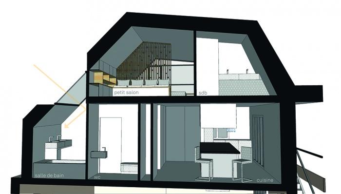 Projet de surélévation - Penthouse : 3_COUPE TRANSVERSALE SDB - Copie