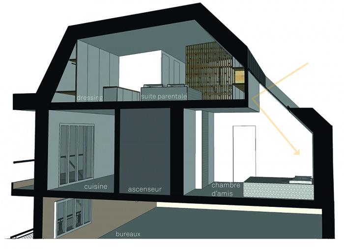 Projet de surélévation - Penthouse : 4_COUPE TRANSVERSALE CHAMBRE - Copie