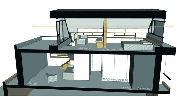 Projet de surélévation - Penthouse : 5_COUPE LONGITUDINALE - Copie