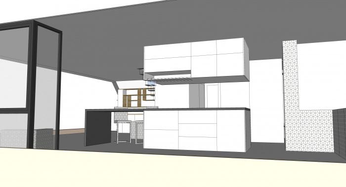 Projet de surélévation - Penthouse : 2_DETAIL_R+3_CUISINE