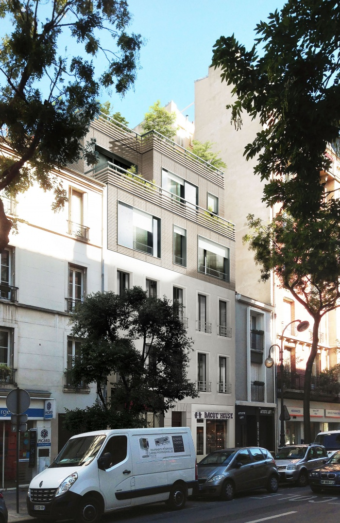 architectes sur l vation d 39 un immeuble parisien paris. Black Bedroom Furniture Sets. Home Design Ideas