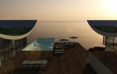 Villa bord de mer : coucher de soleil