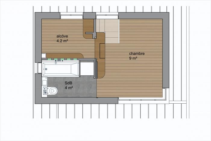 Surélevation d'un duplex et création d'une terrasse : plan projet duplex