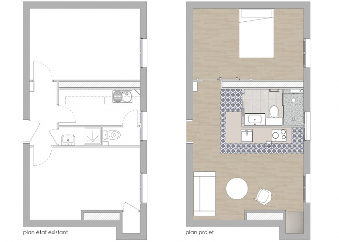 RÉNOVATION APPARTEMENT 75011 : PLANS AVANT / APRES