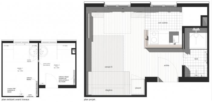 REUNION DE DEUX CHAMBRES EN UN STUDIO de 14m² : PLANS