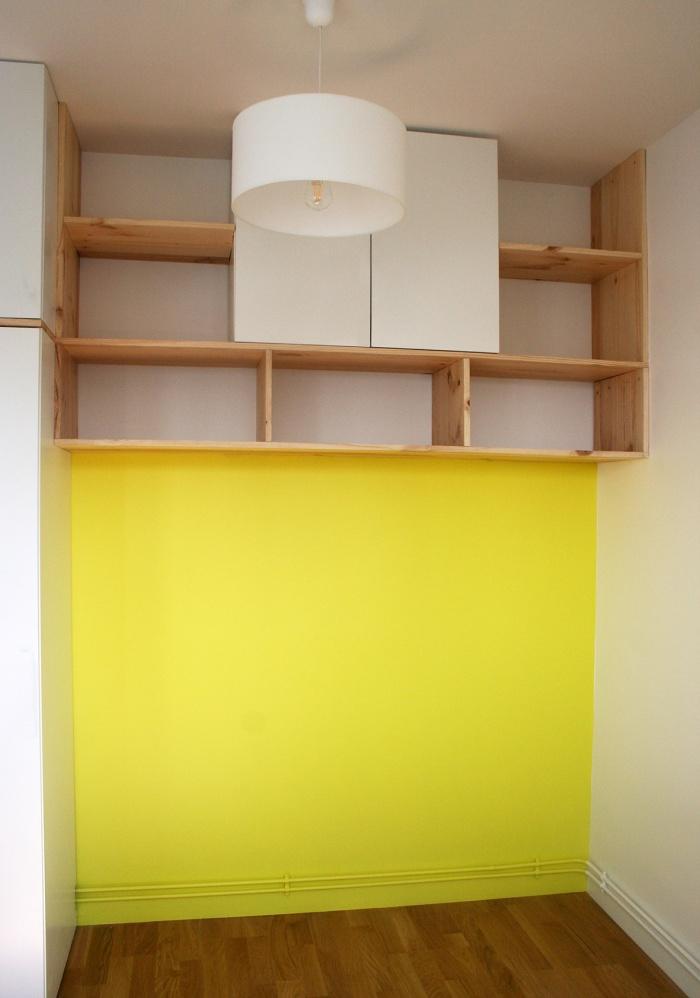 REUNION DE DEUX CHAMBRES EN UN STUDIO de 14m² : 02 mobilier niche lit