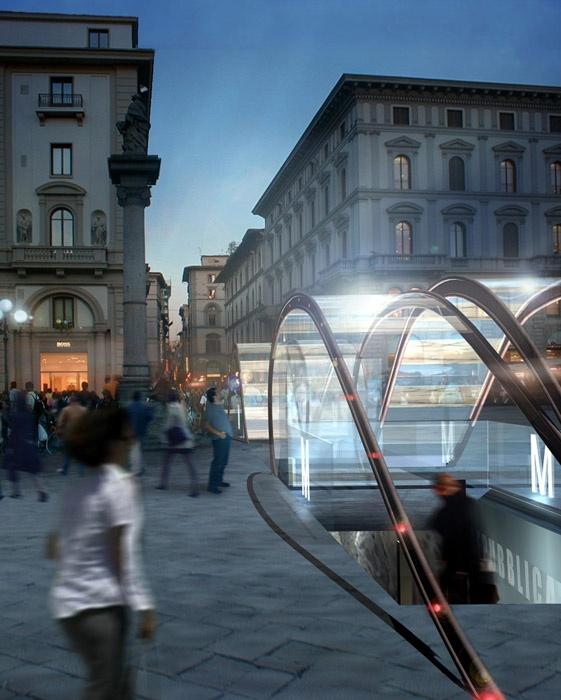 Concours d'idées pour les sorties du métro à Florence (Italie)