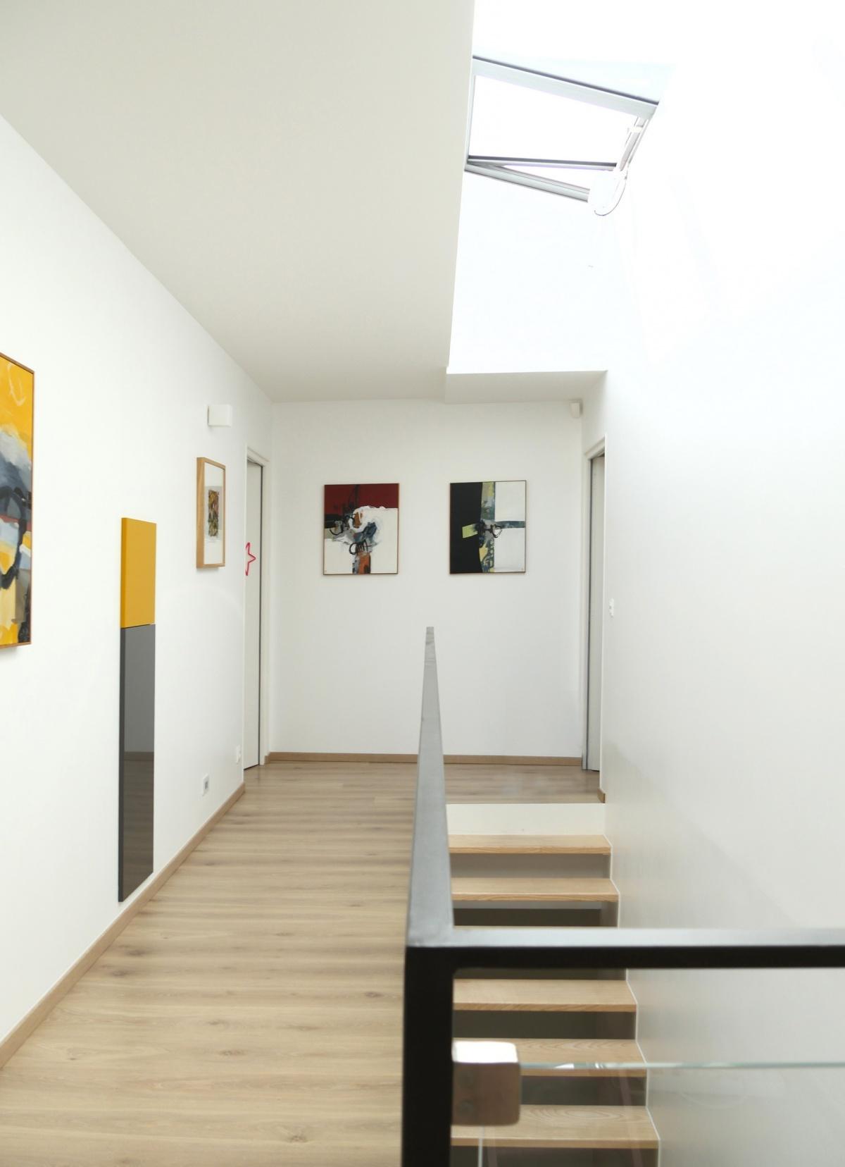 Maison ossature bois : palier etage