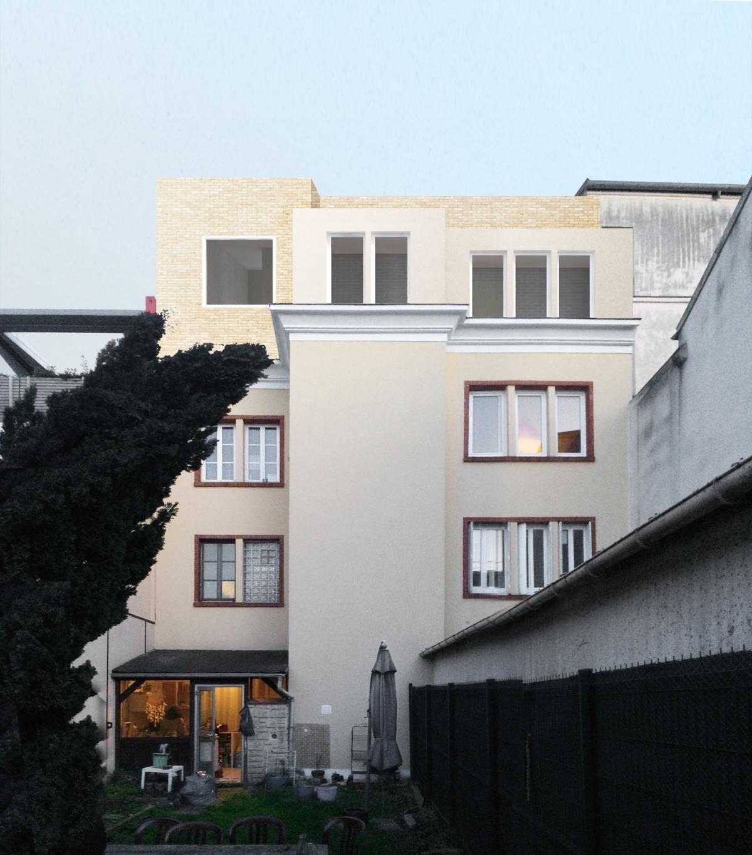 Surélévation pour création d'un duplex avec terrasse : SAINT OUEN pers depuis le jardin