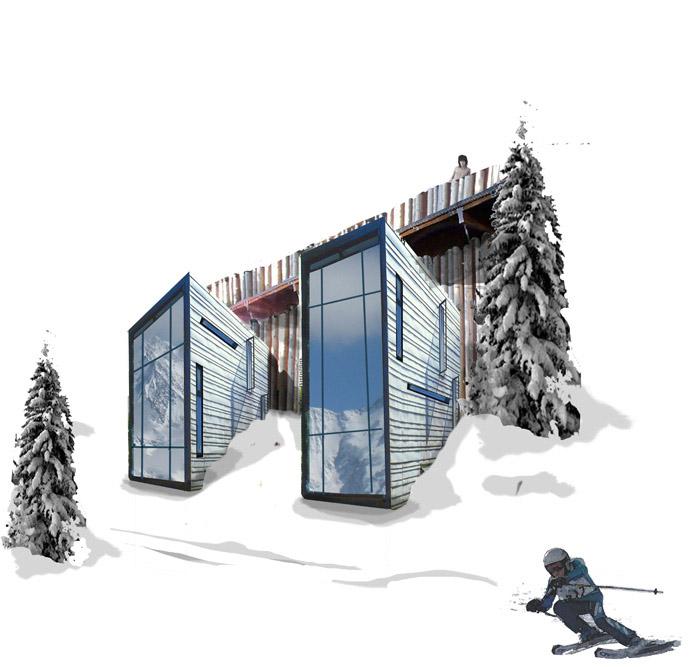 façade hôtel en montagne