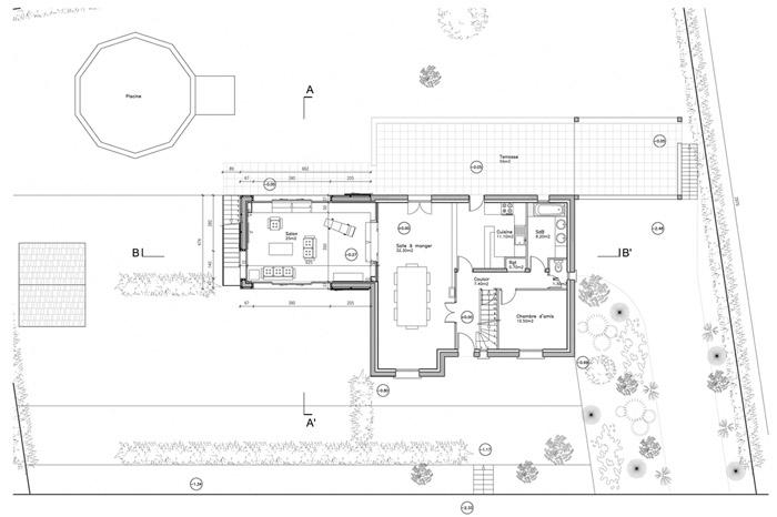 plan maison terrain en longueur stunning agrandir un plan de travail en bton coul with plan. Black Bedroom Furniture Sets. Home Design Ideas